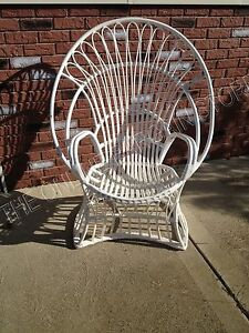 Frontgate Grandinroad French Mademoiselle Outdoor Patio Rattan Wicker Chair WHT
