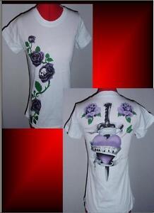 Sinful Arrow Heart Roses Womens Baby Tee T-Shirt