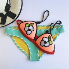 Neoprene Bikini Soft peach colored Triangle Top, Aqua Blue stitched bottom