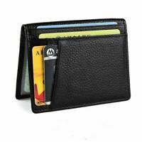 Mens Genuine Leather Black Flap Credit Card ID Holder Slim Soft Bifold Wallet