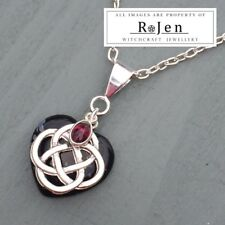 Snowflake Obsidian Heart & Garnet 4 Element Celtic Knot Pendant Pagan Wicca