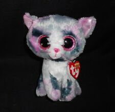 "6"" TY BEANIE BOOS LINDI GREY & PURPLE KITTY CAT STUFFED ANIMAL PLUSH TOY W TAG"