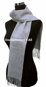New Classic 100% 2-Ply Cashmere Scarf Muffler, Lt Gray