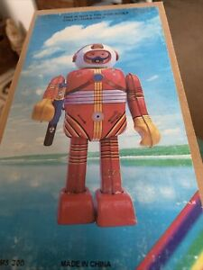 """Retro Tin Space Man Robot 8"""" MS 300 Made In China -NOS- With Key"""