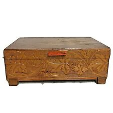 Vintage Wooden Music Box Carved Leaves Mirror Jewelry As Is
