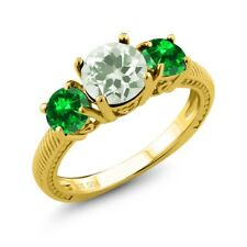 2.78 Ct Green Prasiolite Simulated Emerald 18K Yellow Gold Plated Silver Ring