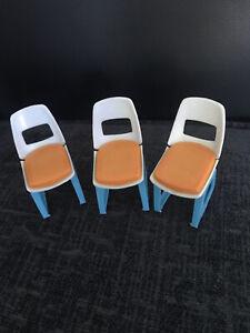 Set Of 3 Vintage Retro Dolls Furniture Chairs