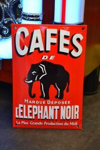 Plaque émaillée CAFES L'ELEPHANT NOIR