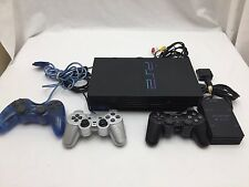 Sony PlayStation 2 PS2 Black Console Fat Original & 3 controllers+multitap