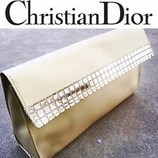 CHRISTIAN DIOR NEW Parfums Gold Black Satin Cosmetic Bag Pouch Clutch