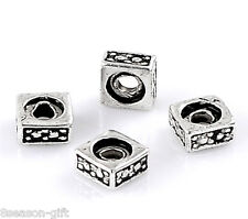 """200PCs Silver Tone Pattern Carved Square Charm Beads 5x3mm(2/8""""x1/8"""")"""