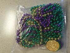 LOT OF 9 GREEN GOLD PURPLE MARDI GRAS BEADS AND THREE COINS NEW