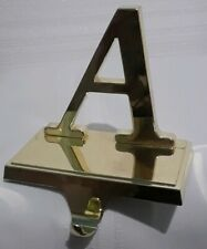Christmas Stocking Holder Letter A Gold Tone Heavy Sturdy
