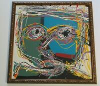 TSS SIGNED SELF PORTRAIT ARTIST MODERNISM POP ICONIC ABSTRACT EXPRESSIONISM RARE