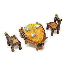 Miniatura Casa de Muñecas Fairy Jardín - Mini Hoja Mesa Y Sillas Set -