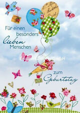 """*CAROLA PABST*Doppelkarte*Geburtstag""""Für einen lieben Menschen""""Luftballons"""