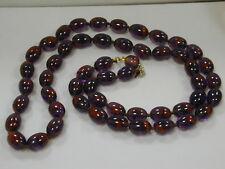 "Vintage Les Bernard Purple w/Red Flecks Oval Glass Bead Necklace~32"" Designer"