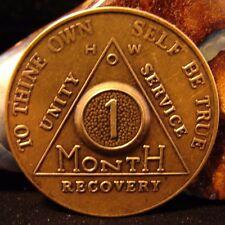 Alcoholics Anonymous 1 Month Aa Bronze Medallion Coin Token Chip Sobriety Sober