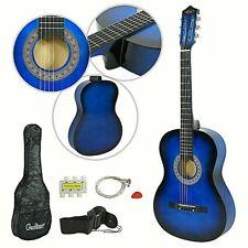 Kit Guitarra Acustica Azul Clasica Adulto con Funda Correa Cuerdas extra Nueva