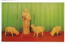 The GOOD SHEPHERD Jesus Sheep Art Museum WOOD CARVING Spooner Wisconsin Postcard