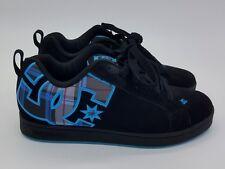 DC Court Graffik SE Skate Shoes Sz 6.5  Black Teal / Blue Suede Womens 1B2
