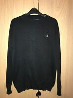 Fred Perry Jumper Black Vintage Retro MOD Fitted XL Classic Top