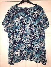 BM COLLECTION LADIES PLUS SIZE SUMMER SHORT SLEEVED BLOUSE TOP SIZE UK 22 EUR 50