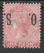 SOUTH AUSTRALIA 1899 QV OS 1D ERROR OS INVERTED USED