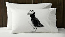 Set of Two Black PUFFIN  penguin sea bird Nautical Pillowcase pillow cover