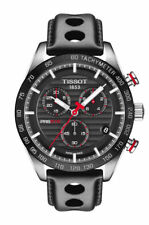 Tissot PRS 516 Chronograph (T100.417.16.051.00) Men's Wristwatch with Black Leather Strap