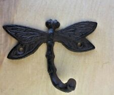 5 Pack Artistic Dragonfly Hooks Brown Bronze Finish Cast Iron Coat Robe Hooks