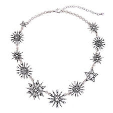Vintage Silver Plated Jewelry Crystal Pave Starburst Statement Collar Necklace