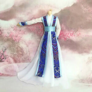 1/6 1/4 1/3 Uncle BJD Clothes Archaic Doll Outfit Ancient Costume Blue&White