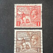 GREAT BRITAIN, SCOTT # 203/204(2), 1p+11/2p. VALUES EXHIBITION 1925 ISSUE USED