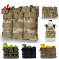 Tactical Molle 5.56 .223 Triple Open Top Magazine Mag Pouch Holster Bag For Vest