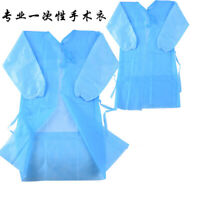 Blue 10pcs Disposable Surgical Gown Coat Light Dust Clothes Woven Overalls Pack