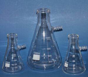 Saugflasche Filtrerflasche Erlenmeyerkolben für Filtrations 250ml, 500ml, 1000ml