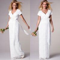 NWT $425 Tiffany Rose Women's Maternity 2 Ivory Lace Wedding Dress Gown Bridget