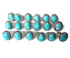 Wholesale !! Lot 50 PCs. Natural Blue Larimar 925 Sterling Silver Plated Ring