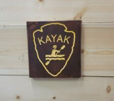 Kayak Icon/Carved Rustic Wood Sign/Recreational/Cabin/Lodge/Décor/Camping