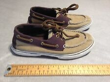SPERRY TOP SIDER HALYARD Women's Canvas 2 eye Deck Boat Shoes US 3.5M Brown