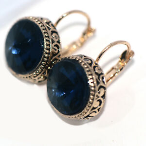 Vintage Big Blue Crystal 15mm Womens Hoop Earrings Dangle Earings Gold Jewelry