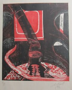 """LYNN KEATING AUSTRALIAN COLOUR INK LINOCUT """"ABSTRACT RED AND BLACK"""" 1997 A/P"""