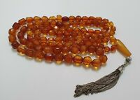 1920 Antique Faceted Baltic Amber Islamic Prayer Rosary Misbaha 100 Beads 34 gr