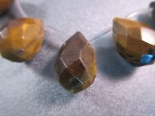 Tiger's Eye Faceted Teardrops Beads 4pcs