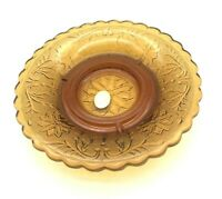 Vintage Indiana Glass Amber  Tiara Exclusive Sandwich Pattern Round Ashtray