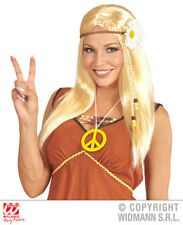 Blonde Straight Hippie Wig With Daisy Headband 70S Fancy Dress Costume Accessory