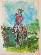 Peinture signée . Painting signed Marie-Pierre ESTEVE promenade à cheval