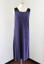 Eileen Fisher Purple Black Sleeveless Dress Hemp Organic Cotton Blend Casual XS