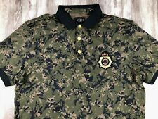 RARE GUESS LA Los Angeles Gold Embroidered Snap Button Camo Polo Rugby Shirt M